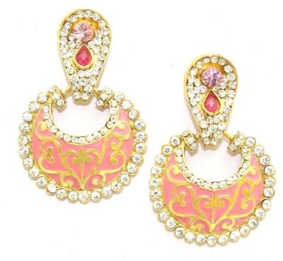 Aarnaa Pink Meena Alloy Chandelier Earring