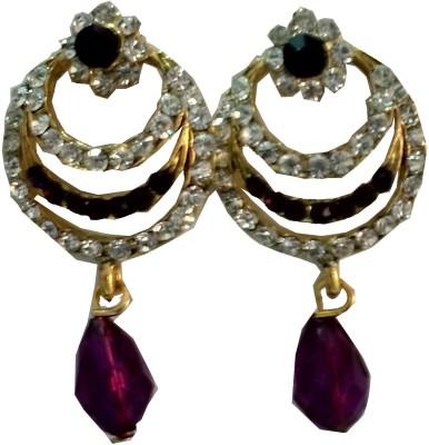 modifier purple alloy Crystal Alloy Drop Earring