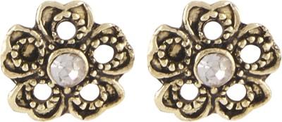 Shining Jewel Casual Sparkle Crystal Brass Stud Earring