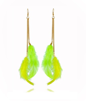 Rooh Jewellery Feather Yellow And Green Fabric Dangle Earring