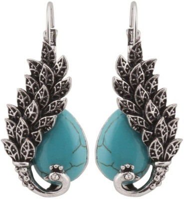 RIANZ Vintage Look Antique Blue Turquoise Malachite Peacock Drop Fabric Dangle Earring