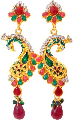 Store Utsav Dancing Peacock Zircon Brass Drop Earring