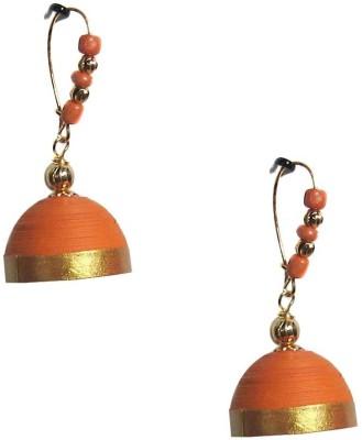 Jyotis Creations Orange Paper Dangle Earring