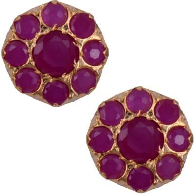Mahaveer Pearls Designer Pink Brass Stud Earring