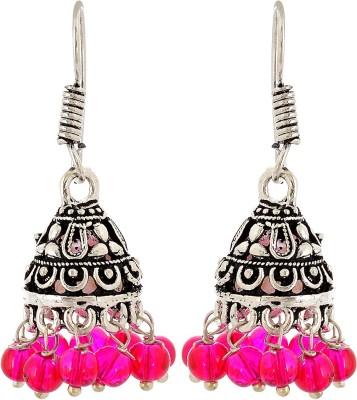 Subharpit Small Pink Desinge Beads Metal Jhumki Earring