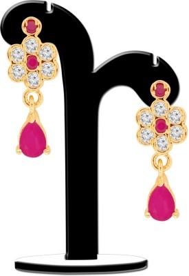Spargz Floral Ruby Drop Earring Cubic Zirconia, Ruby Brass Drop Earring