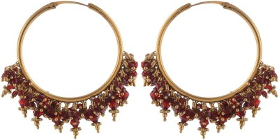 Sale Funda Red Beads Hanging in loop Metal Hoop Earring