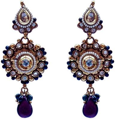 Kundaan Designer Polki Crystal Copper, Brass Drop Earring