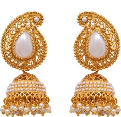 Ratnakar Gold mango with fine pearl work earing Alloy Jhumki Earring