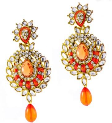 imillery imillery kundan orange Alloy Drop Earring