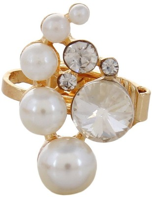 Fayon Designer Modern White Multi Pearls With Crystal Vintage Crystal Alloy Cuff Earring