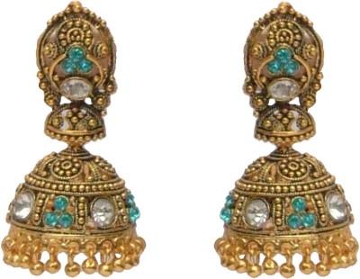 I Dream Works Golden Alloy Brass Jhumki Earring