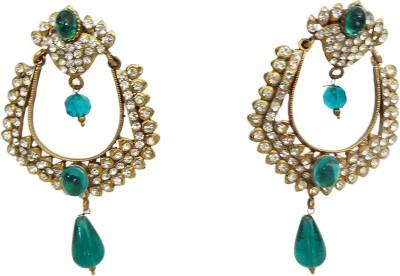 W Stop Ad Crystal Brass Chandbali Earring