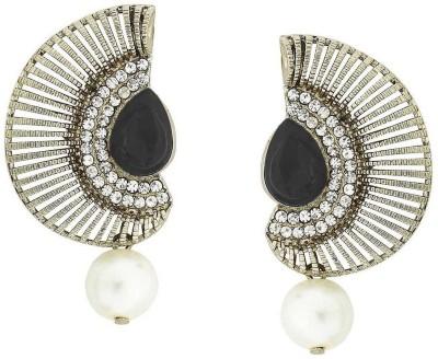 Grandiose Crescent Antique Rhodium Black CZ Pearl Copper Dangle Earring