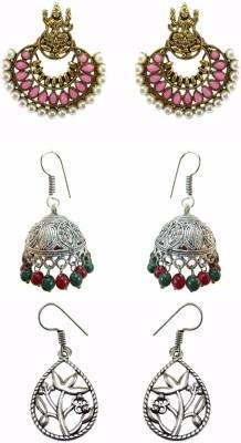 Chhayamoy Laxmi Chandbali & Oxidised Jhumki Combo Alloy Earring Set