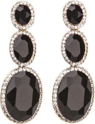 Crimson21 Artificial Black Geometric Design Alloy Dangle Earring
