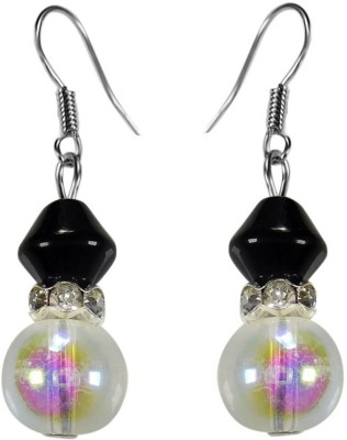 Crystals & Beads Onyx Black Colour Bicone Moonball & Rainbow White Crystal with Diamond Spacer Acrylic, Glass, Crystal Dangle Earring
