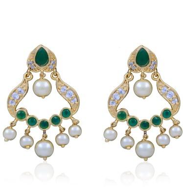Jewel Planet Leaf Designed Pearl Alloy Chandbali Earring