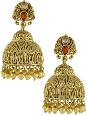 Naveli Artificial Jewellery Crystal Copper Jhumki Earring