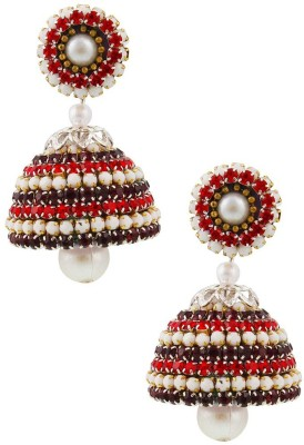 Tamira Traditional Pearl Design Handcrafted Artificial Diamond Chain Jhumka Alloy Jhumki Earring
