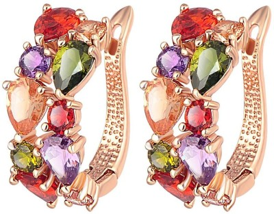 Wearyourfashion Sparkling Multicolour Flowerets Swiss Cubic Zirconia Alloy Clip-on Earring
