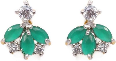 Vanshika Jewels Green Stone in AD Alloy Stud Earring