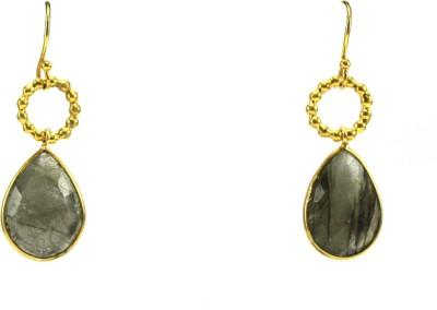 GnJ Golden Delight Onyx Sterling Silver Dangle Earring