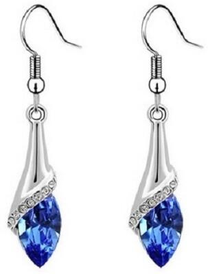 Aaishwarya Blue Rhinestone Crystal Alloy Dangle Earring