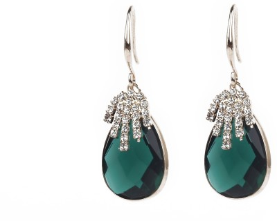 Jewelfin Green with White Stone Alloy Drop Earring