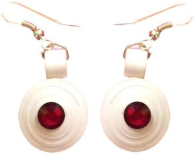 Vaishali's Quilling Jewellery White colour with Red stone Paper Dangle Earring