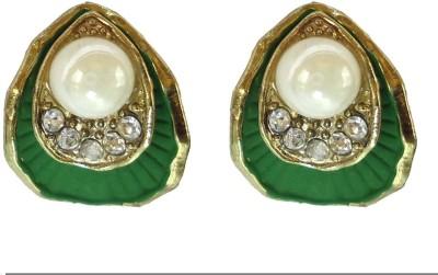 Modish Look Green Shell Design Brass Stud Earring