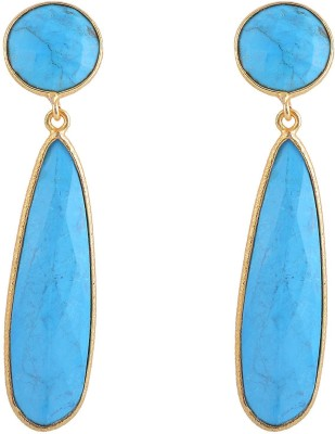 Jewel Paradise Turquoise Brass Drop Earring