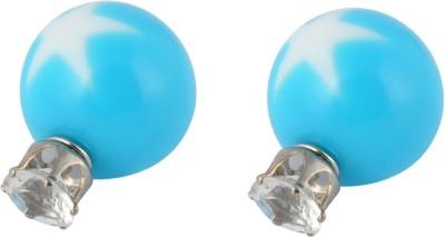 Amroha Crafts Star Globule Blue Alloy Stud Earring