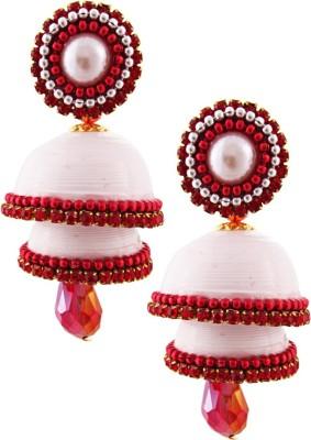 Jaipur Raga Hancrafted Single Stud White Double Jhumka Brass Jhumki Earring