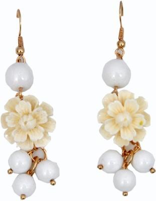 WoW White Resin Flower Design Resin Dangle Earring