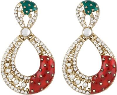 Radius Red & Green Minakari Style Zircon Metal Drop Earring