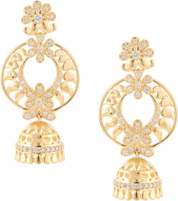 Beautiart Floral Gold Polish Cubic Zirconia Alloy Jhumki Earring