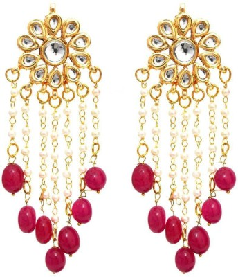 Fashionography The Charming Kundan Pearls Danglers - Magenta Alloy Dangle Earring