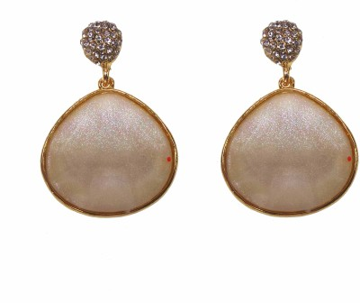 Modish Look White shining for cocktail Brass Drop Earring