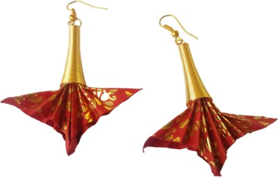 Origami Noshi Red & Gold Fan shaped Brass Dangle Earring