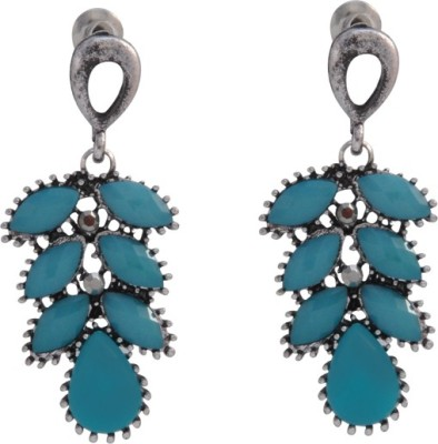 The Fine World A lovely pair of German Silver with stones Metal Drop Earring