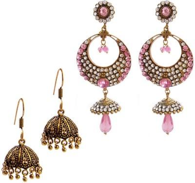 MK Jewellers Victoria Light pink & Oxidized Earring Combo Brass, Copper Earring Set