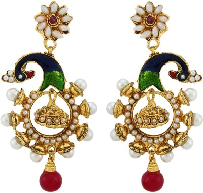 Asmara Peacock Pearl Adorned Alloy Drop Earring