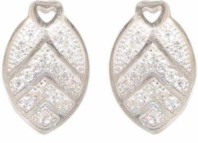 TUAN leaf shaped shaped Cubic Zirconia Sterling Silver Stud Earring