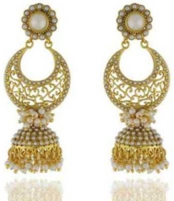 Happyshoppi Fashionable Pearl Brass, Copper Jhumki Earring