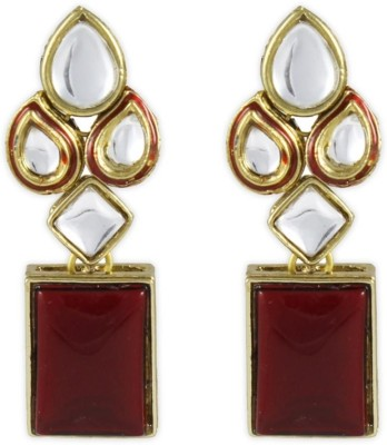 Karatcart Red Modish Kundan Brass, Alloy Dangle Earring