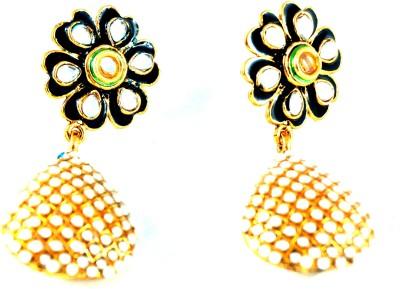 Grandiose Meenakari Kundan Flower Pearl Alloy Drop Earring
