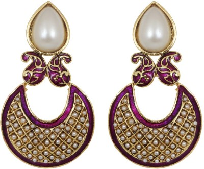 Jewelfin Shiny Pearl Alloy Chandbali Earring