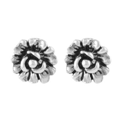 Shining Jewel Flower Sparkle Brass Stud Earring