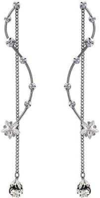 Wearyourfashion Sparkling Star Rope Swarovski Zirconia Alloy Tassel Earring